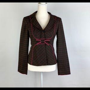 Nanette Lenore Blazer 2 Brown Pink Poly/Wool Bow